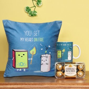 Cushion and Mug with Chocolates Combo