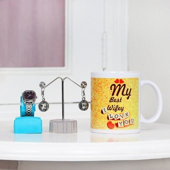 Watch with Earrings and Mugs