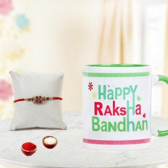 Send Rakhi to Gurgaon with Happy Rakshabandhan Green Mug and Rolli Tikka