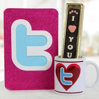 A Twitter Logo Coffee Mug and A pack of handmade I Love You chocolates with Twitter Logo card