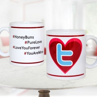 4 #tag quoted Twitter Mug with Both Side View
