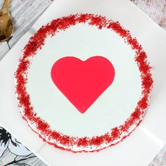Red Velvet with a Fondant Heart - Top View