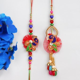 Zardosi Lumba Rakhi Set for Bhaiya and Bhabhi