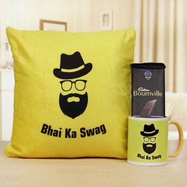Bhai ka Swag Mug with Bhai ka Swag Cushion and 1 Bournville