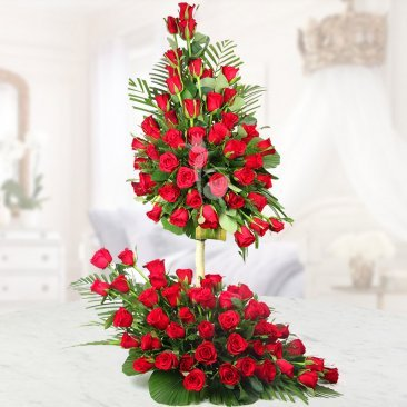 Arrangement of 100 Red roses