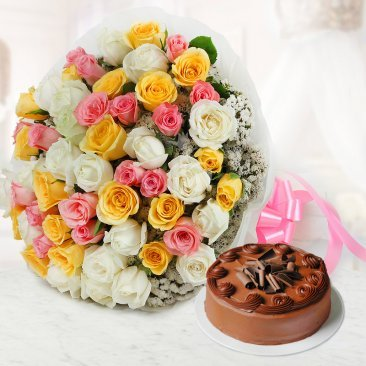 Dreamy Emotions - A combo of 50 mixed roses and a half kg chocolate cake