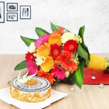 Combo of Prettylicious - Gerberas Bunch & Butterscotch Cake