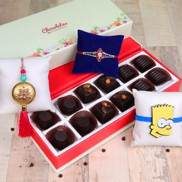 Three Rakhis with Twelve Handmade Chocolates