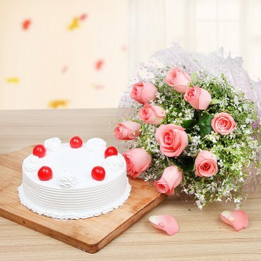 Cherry Vanilla Roses - Combo of 10 Pink roses bunch and Half kg vanilla cake