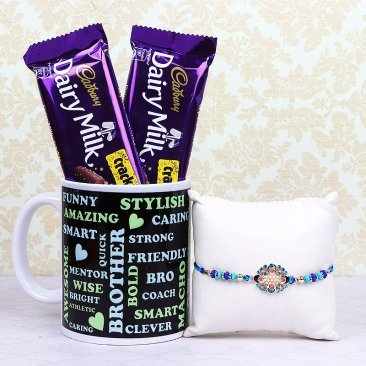 Rakhi and Two Dairy Milk Crackles with Printed Mug