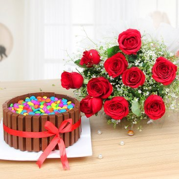 KitKat Gems Extravaganza - Combo of half kg Kitkat gems cake with 10 red roses bunch