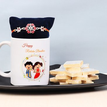Rakhi with Raksha Bandhan Mug and Kaju Katli Combo