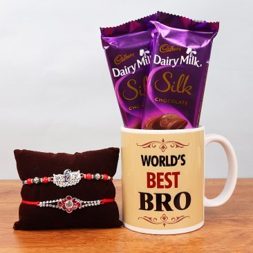 Two Rakhis with Printed Mug and Two Silk Chocolates