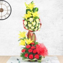 6 Yellow Lilies 10 Red Carnations and 10 Yellow Carnations
