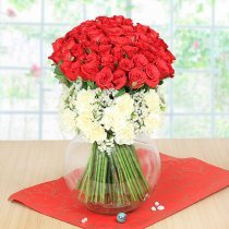 75 Red Roses and 15 White Carnations in Glass Vase