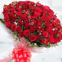 Pure Love - 100 red roses romantic bouquet